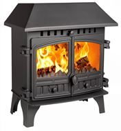 Herald 8, Slimline, Double Door, Wood Burning Model with a Low Clip-On Canopy
