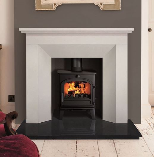 Limestone Hourglass Fireplace