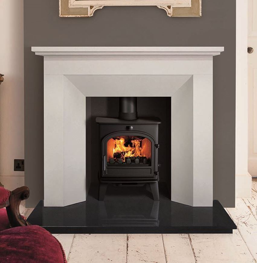 Limestone Hourglass Fireplace