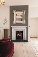 hourglass fireplace in room